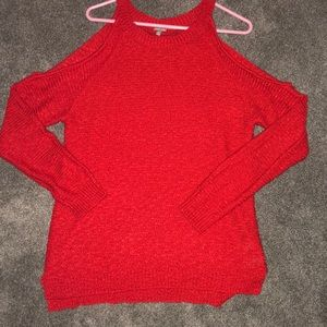 Red shoulder cutout sweater